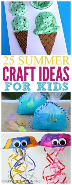 These 25 summer crafts are perfect for keeping your bored kiddos entertained all summer long. Plenty of awesome ideas for all ages! #artsandcraftsforchildren,