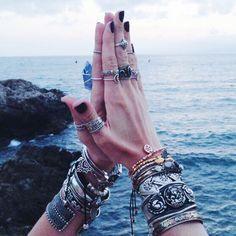 Namaste.   [Shop the NEW Dixi Wild Hearts Collection]: www.shopdixi.com  #ring #bracelet #jewelry #bohemian #style  #dixiwildheart