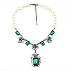 Venetian Pearl Chain Jewelry Blue Pendant Necklace  Free Shipping New 2014 Fashion JZ012526