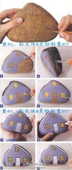 心动了~赶紧去找一块这样的石头,画一座屋子!@美好创意DIY 整理分享自网络
