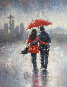 Seattle Lovers in the Rain art print, Seattle rain, space needle love, rain, couple, romance, red umbrella, Vickie Wade art.