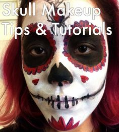 Learn how to face paint a skull for Halloween or Dias de los Muertos. Look at a photo gallery of examples ranging  from realistic skulls to sugar skulls for inspiration.