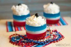 Firecracker Jell-O Parfait - This recipe is truly patriotic. Red, white and blue flavored Jell-O is magically transformed into this super-cool layered treat. Top with a dollop of freshly whipped cream and garnish with extra berries for one explosive dessert.