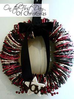 Mod Podge paper wrap Christmas wreath
