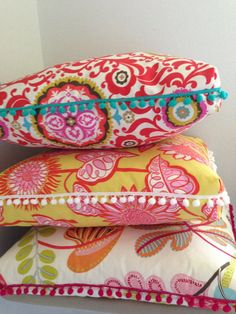 Floor Pillow Pouf Red Twisty Twirl by Ahmelie on Etsy; fun large floor pillows; love the pom poms!
