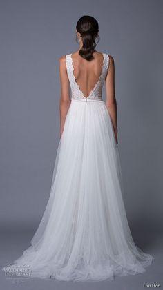 lihi hod 2017 bridal sleeveless scallop v neck heavily embellished bodice romantic modified a  line wedding dress low back sweep train (carmen) bv