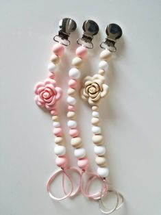 Pacifier Clip Silicone Paci Clip Binky Clip Pink, White And Beige Silicone Soother Clip Pacifier Holder Baby Shower Easter Basket Pink Beige, Pacifier Holder, Pacifier Clips, Baby Binky, Baby Toys, Teething Beads, New Baby Gifts, Baby Accessories, How To Make Beads