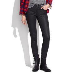 coated jeans + buffalo plaid + biker boots