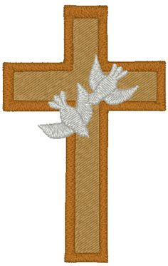 Cross and Doves Embroidery Design