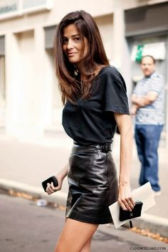 I love the proportions in this - super high waisted and tight, contrasting with loose, soft t-shirt