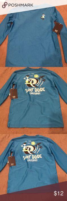 NWT Gymboree SWIM SHOP Blue Good Vibes Only Surf Crew Rashguard Top NEW