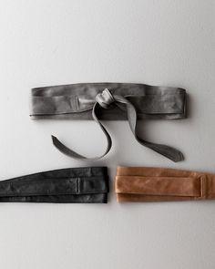 CREATE a WAIST until it returns!    Verona Wrap Belt - Garnet Hill $88, Gray black brown    $88 washed Italian leather