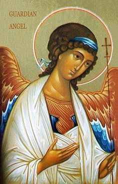 ~The Three Prayers: Feast of the Guardian Angels Religious Images, Religious Icons, Religious Art, Archangel Gabriel, Archangel Michael, Byzantine Icons, Byzantine Art, Greek Icons, Angel Images