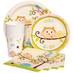 Owl Baby Shower Pink Express Party Package for 8