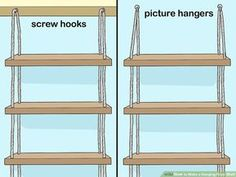 How to Make a Hanging Rope Shelf: 10 Steps (with Pictures) Hanging Wood Shelves, Window Shelves, Rope Shelves, Hanging Rope, Plant Shelves, Hanging Plants, Potted Plants, Cactus Plants, Air Plants