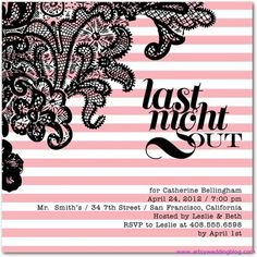 Hen Night Party invitation (french themed, pink and white stripes with black lace)