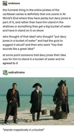 Never underestimate the internet when it comes to dissecting specific scenes from Pirate of the Caribbean movies. Never underestimate the internet when it comes to dissecting specific scenes from Pirate of the Caribbean movies. 9gag Funny, Funny Memes, Funny Fails, Memes Humor, Funny Blogs, Hilarious Quotes, Hilarious Animals, Funny Life, Funny Animal