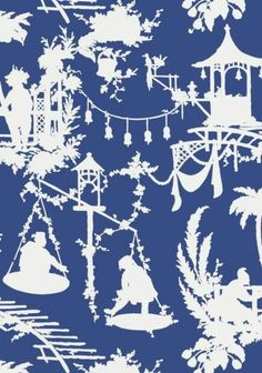 South Sea #chinoiserie wallpaper and coordinating printed fabric in Navy from the #Resort collection by #Thibaut