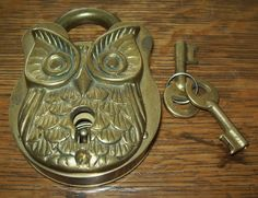 """Brass Owl Working Padlock with Keys Patented Feby 18 1896 3 3 4"""" Antique Lock"""