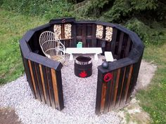 #FirePit, #Garden, #Outdoor, #PalletDiyIdeas, #PartyDecor, #RecyclingWoodPallets We made this Unique Circular Euro Pallet Fire Pit out of12 pallets, two types of tar, and a lot of creativity. It's definitely a unique build, but quite inspirational!  Unique Circular Euro Pallet Fire Pit Prep: First, we had to prep an area.