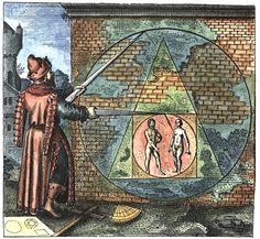 "[Matthäus Merian, from Atalanta Fugiens by Michael Maier] Emblem 21, ""Fac ex mare & fœmina circulum, inde quadrangulum, hinc triangulum, fac circulum & habebis lap. Philosophorum"" (Make of the man and woman a Circle, of that a Quadrangle, of this a Triangle, of the same a Circle and you will have the Stone of the Philosophers)"