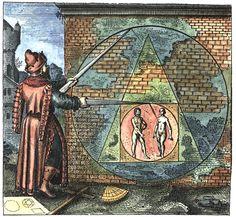 "[Matthäus Merian, from Atalanta Fugiens by Michael Maier] Emblem 21, ""Fac ex mare & fœmina circulum, inde quadrangulum, hinc triangulum, fac circulum & habebis lap. Philosophorum"" (Make of the man and woman a Circle, of that a Quadrangle, of this a Triangle, of the same a Circle and you will have the Stone of the Philosophers)"