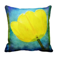 """Yellow tulip on blue and green grunge decorator pillow.  16""""x16"""" , 20""""x20"""", 13""""x21"""".  http://www.zazzle.com/littlethingsdesigns?rf=238200194340614103"""