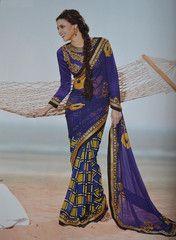 Ink #blue colour #Georgette #designer #saree #sari