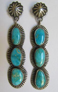 ➳➳➳☮ American Hippie Bohemian Boho Feathers Gypsy Spirit Style - Jewelry. . Silver Turquoise Earrings