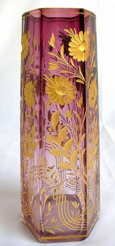 Bohemian amethyst crystal glass gilt vase poss. by Moser