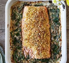 Bay-crumbed salmon with creamed spinach Wild Mushrooms, Stuffed Mushrooms, Creamy Cucumber Salad, Creamy Cucumbers, Bbc Good Food Recipes, Cooking Recipes, Spinach Health Benefits, Salsa, Seafood