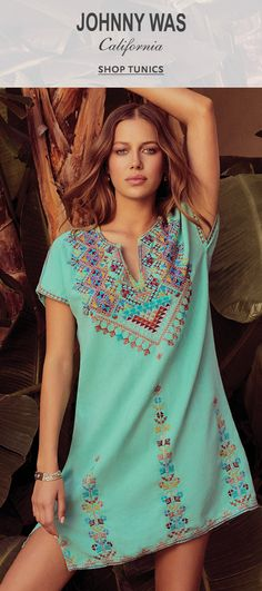 Tunics for Women Boho Outfits, Pretty Outfits, Summer Outfits, Casual Outfits, Johnny Was Clothing, Fashion Plates, Kaftan, Breeze, Love Fashion