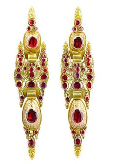 A pair of late 18th century Catalan gold and garnet pendent earrings.