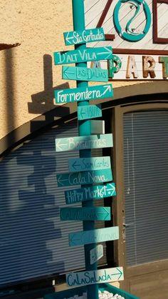 Road sign in Es Canar, Ibiza...