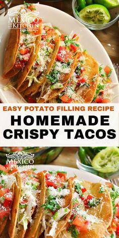 Real Mexican Food, Mexican Food Recipes, Mexican Dishes, Ethnic Recipes, Mexican Potluck, Potluck Dinner, Crispy Potatoes, Seasoned Potatoes, Potato Filling Recipe