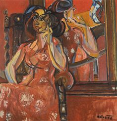 "art-mirrors-art:  ""Bohumír Matal - Woman in red (1956)  """