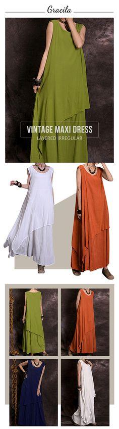 US$ 20.73 Gracila Vintage Layered Irregular Sleeveless O-neck Maxi Dress For Women