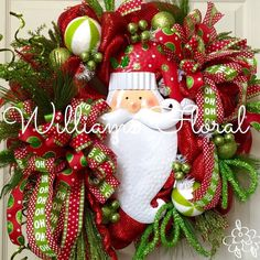 christmas wreath santa wreath mesh wreath santa by williamsfloral on etsy https