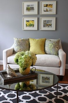 I have this similar stencil but I love the couch coffee table and rug in this pic! Wall Stencil Morrocan Lattice Trellis Pattern Wall Room Decor Made by OMG Stencils Home Improvements Color Paintings 0207 Formal Living Rooms, Living Room Grey, Home Living Room, Living Room Decor, Dining Room, Comfortable Living Rooms, Ideas Hogar, Mellow Yellow, Grey Yellow