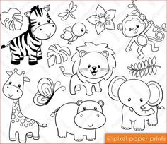 Embroidery Patterns of Jungle Friends Digital stamps Clipart by pixelpaperprints. Felt Crafts, Paper Crafts, Digital Stamps, Colouring Pages, Doodle Art, Baby Quilts, Embroidery Patterns, Ribbon Embroidery, Machine Embroidery