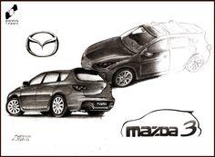 Mazda 3 drawn by Zuzanna Kotala in DOMIN Radom drawing school / Mazda 3 narysowana przez Zuzannę Kotalę w szkole rysunku DOMIN Radom https://www.facebook.com/DominRadom?fref=ts