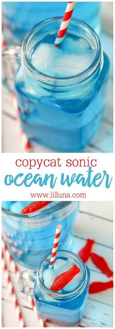 Copycat Sonic Ocean Water - so easy to make and so refreshing! It's perfect for parties or a hot, summer day!
