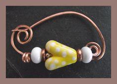 Solid Copper & Lampwork Heart fibula - shawl pin - brooch £12.50