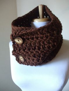 Chunky 'n' Cozy Crochet Scarf Men Scarf Cowl Women NeckWarmer Scarflette Scarf  BROWN Soft Acrylic Cool Gift Under 20