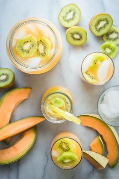 Cantaloupe Melon and Kiwi Agua Fresca - Foodness Gracious