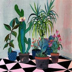 Pink flower garden, @art_n_people #painting, #botanic, #garden, #flowers, #illustration, #artandpeople