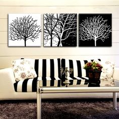Sofa background wall decorative painting frameless wainscoted painting black and white abstract pachira(China (Mainland))