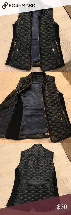 Women's feaux leather vest Dark navy with chocolate brown piping. Never worn. Fate Tops