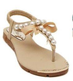 Women Flat Sandals with Pearls (Color: Apricot) | Save upto 30% with us |  Visit our website now  uniquefashionusa.com