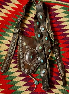 Native American Turquoise & leather bandolier bag